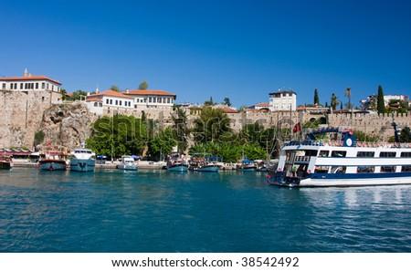 Boats in the Antalya's marina, Turkey - stock photo
