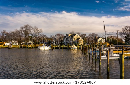 Boats in the harbor of Oxford, Maryland. - stock photo