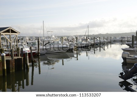 boats in the marina by the Niantic River in Connecticut - stock photo