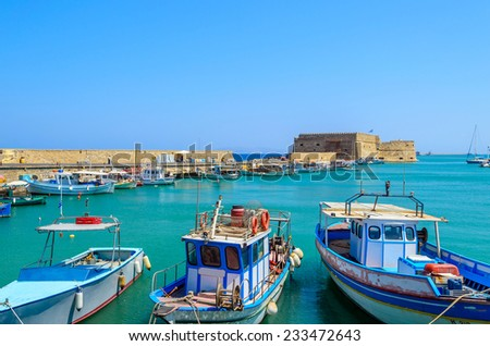 Boats in the old port of Heraklion, Crete island - stock photo