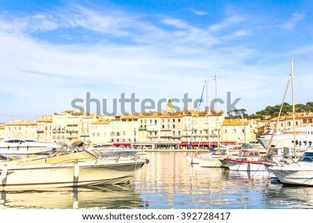 Boats in the old port of Saint Tropez, French Riviera - stock photo