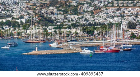Boats in the port of Bodrum in Turkey - stock photo