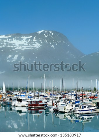 Boats in the Port of Whittier Alaska - stock photo