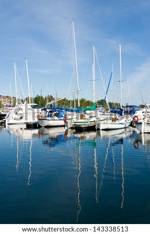 Boats in Thornbury harbor in Ontario, Canada - stock photo