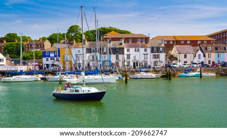 Boats in Weymouth Harbour Dorset England UK Europe - stock photo
