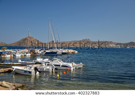 boats in Yalikavak marina  Bodrum region, Turkey - stock photo