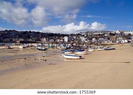Boats moored at low tide - stock photo