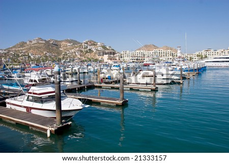 Boats moored in Cabo San Lucas, Mexico - stock photo