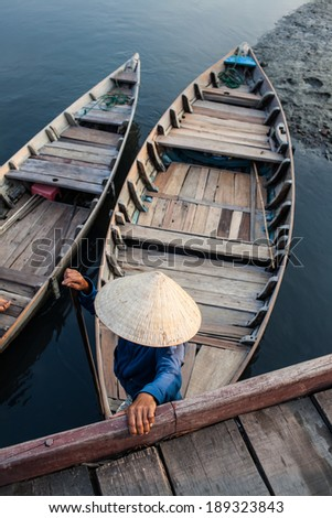 Boats of  transportation in Hoai river  - stock photo