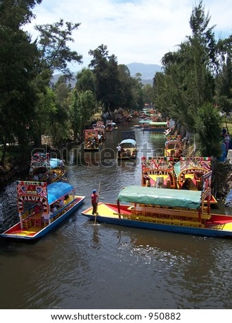 "Boats of Xochimilco, ""The Venice of Mexico"" - stock photo"