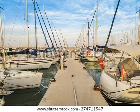 Boats on a nautical club - stock photo
