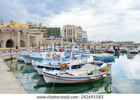 Boats on embankment in Old town of Iraklion. Crete. Greece - stock photo