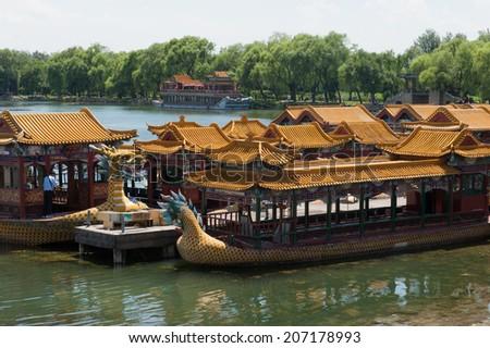 Boats on Kunming Lake at the Summer Palace - stock photo