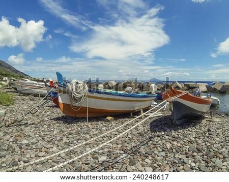 Boats on port of Salina, Sicily - stock photo