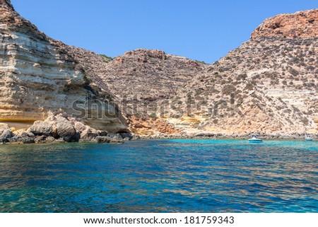 boats on sea of Lampedusa - stock photo