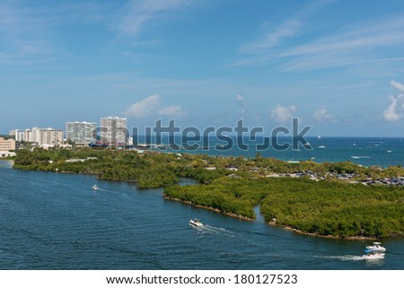 Boats on the Intracoastal Waterway, Fort Lauderdale, Florida - stock photo