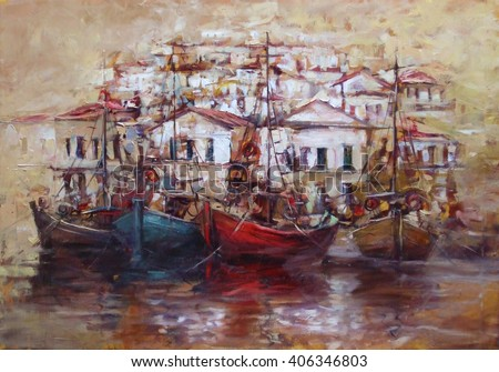 Boats on the island harbor,handmade oil painting on canvas - stock photo