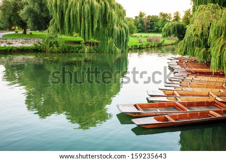 boats on the lake - stock photo
