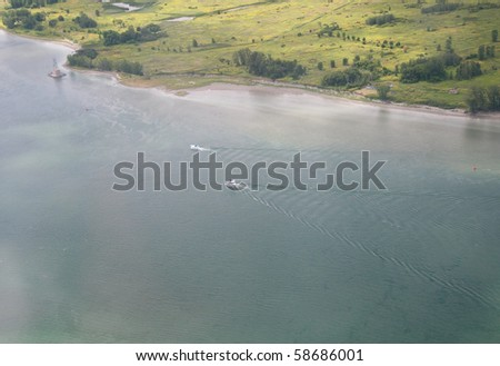 Boats on the St-Lawrence river near Montreal.  Aerial view - stock photo