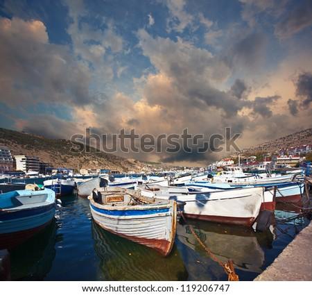 boatsa in harbor in Balaklava. Crimea. - stock photo
