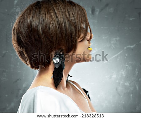bob haircut. profile view. beauty face . short hair dress. - stock ...