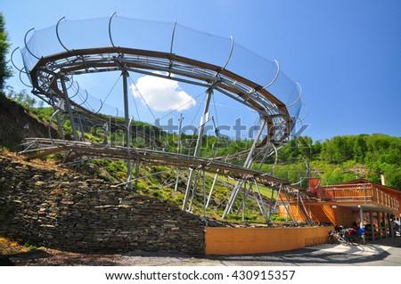 Bobsled track activity center park - stock photo
