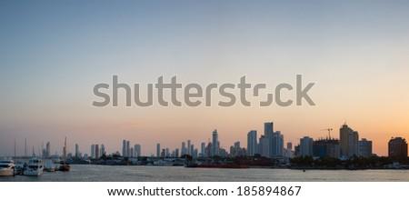 Bocagrande neighborhood with sunset, Cartagena De Indias (Colombia) - stock photo