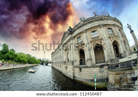 Bode-museum of Berlin, Germany, view from Spree river - stock photo