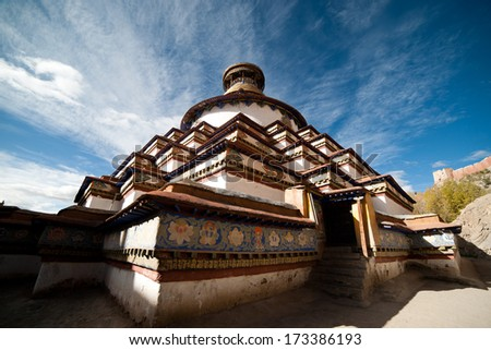 Bodhi Pagoda of Palcho Monastery(also named baiju Monastery) in Tibet, China - stock photo