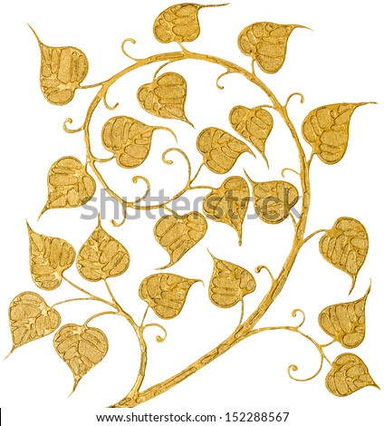 Bodhi painted gold isolate on white background - stock photo