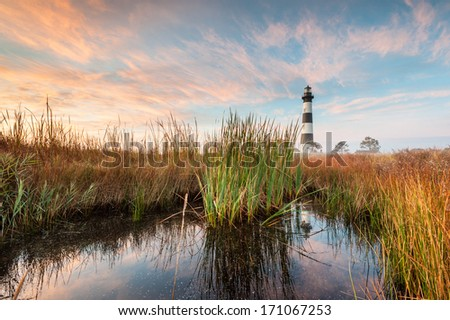 Bodie Island Lighthouse North Carolina Outer Banks Cape Hatteras National Seashore - stock photo