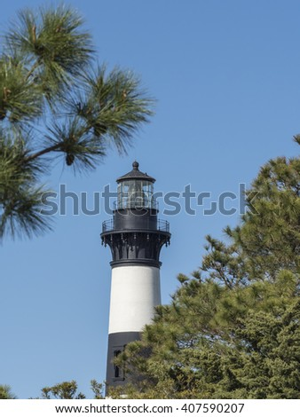 Bodie Island Lighthouse on the Outer Banks of North Carolina. - stock photo