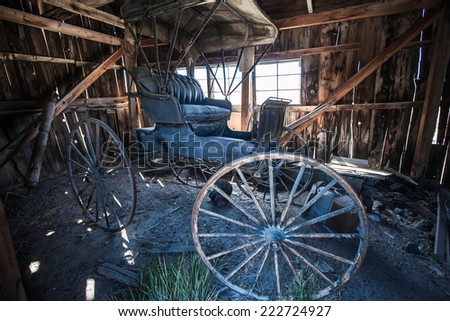 BODIE - Old carriage at ghost town Bodie State Park, California on September 3 2014 - stock photo