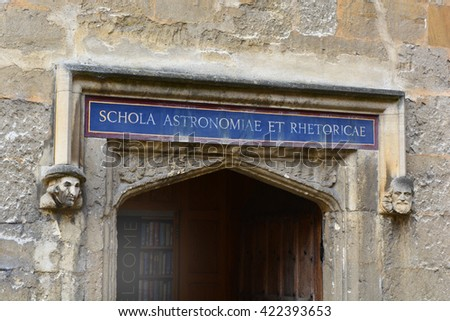 Bodleian Library School of Astronomy entrance - stock photo