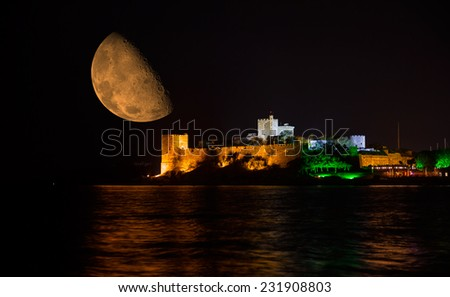 """Bodrum Castle at night.""""Elements of this image furnished by NASA """" - stock photo"""