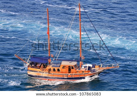 Bodrum Gulet Yacht. Traditional Turkish design, two masted wooden sailing boat from the south-west coast of Turkey. - stock photo