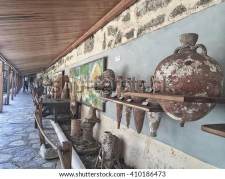 BODRUM, TURKEY - MARCH 20, 2016; Museum of Bodrum Castle in Turkey. - stock photo