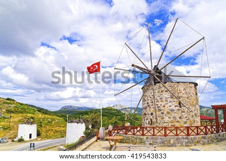 Bodrum, Turkey - May 10, 2016 - View of Bodrum town located on the Aegean coatline of Turkey, famous for summer attractions, windmills and nightlife. Turkish Riviera on May 10, 2016. - stock photo