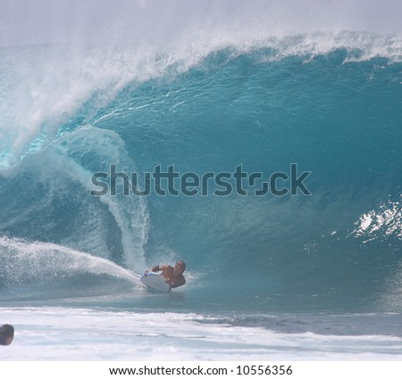body boarder at Pipeline - stock photo