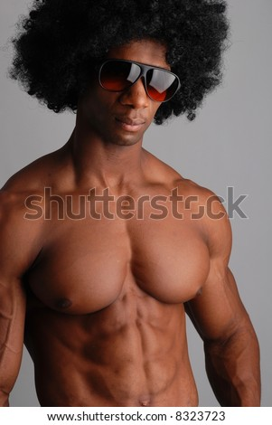 Body builder, cut muscles, male model, curly hair - stock photo