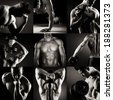 Body builder posing.Various images in a collage on dark background. - stock photo
