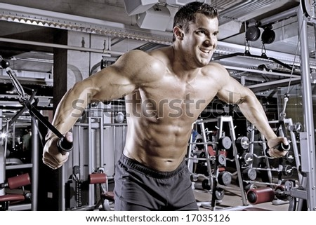 Body Builder Working Out at Gym - stock photo