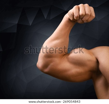 Body Building, Bicep, Weight Training. - stock photo