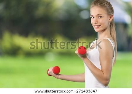 Body Building, Exercising, Women. - stock photo