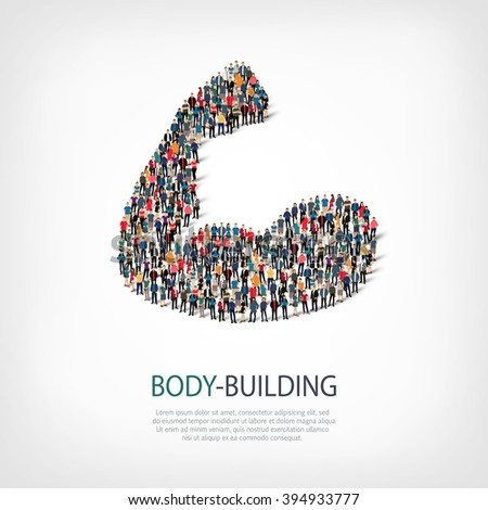 body-building fitness people - stock photo