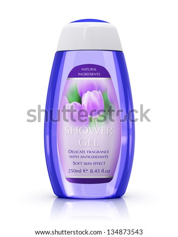 Body care and cosmetics concept: bottle with shower gel isolated on white background with reflection effect - stock photo