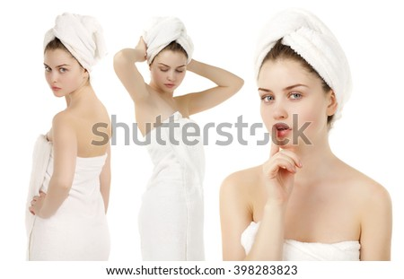 Body Care Collage. Beautiful young women posing in white towel. Spa, health care. isolated on white background - stock photo