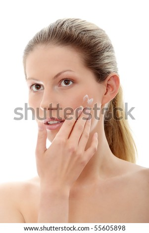 Body care concept. Woman isolated on white - stock photo
