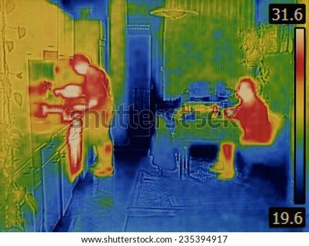 Body Heat Distribution Thermal Image - stock photo