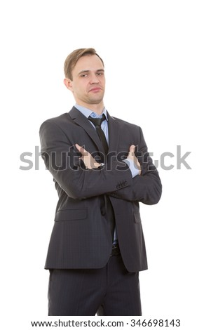 body language. man in business suit isolated white background. Training managers. sales agents gestures of arms and hands. posture of superiority. emphasis thumbs. crossed arms - stock photo